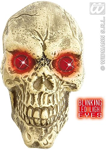 Wall Skulls With Blinking LED Eyes 25cm Accessory For Halloween Living (Blinking Led Eyes Halloween)