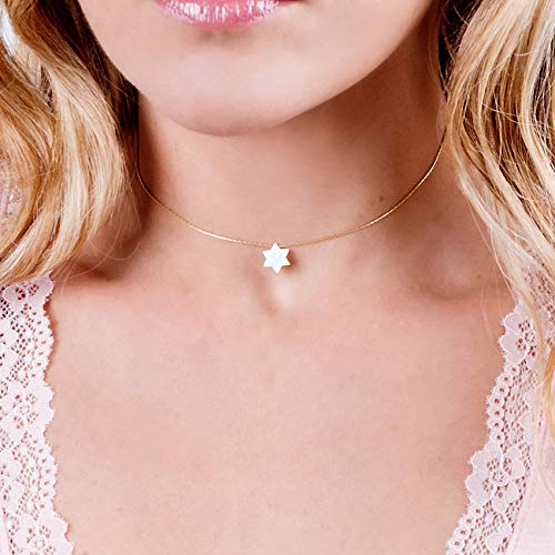 White Opal Magen David On Delicate 14K Gold Filled Choker Necklace - David Star Collar Chain - Length: 13.5 inch + 3 inch Extender