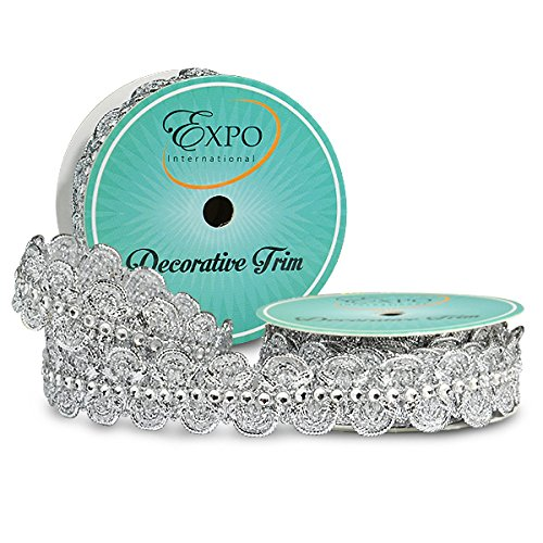 Expo International SIR6964SL Eva Faux Rhinestone Metallic Braid Trim Spool, 3 yd, Silver