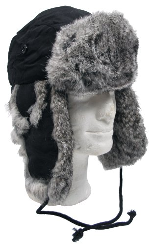MFH Fellmütze mit Kaninchenfell Steppfütterung, schwarz, XL, 10020