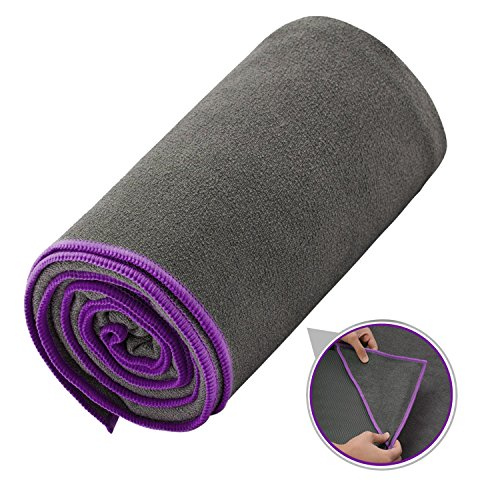 Ewedoos Yoga Towel with Anchor Fit Corners, 100% Microfiber Non Slip Yoga Towel, Super Soft, Sweat Absorbent, Ideal for Hot Yoga, Pilates and Workout (Purple Trim)