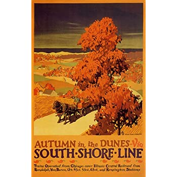 Autumn in Dunes vintage South Shore Line poster 16x24