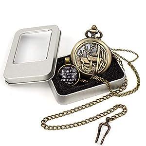 Classic Steampunk Deer Design Pocket Watch Chain Quartz Pocket Watch Deer Reindeer Vintage Quartz Pocket Watch with Box Xmas Gift