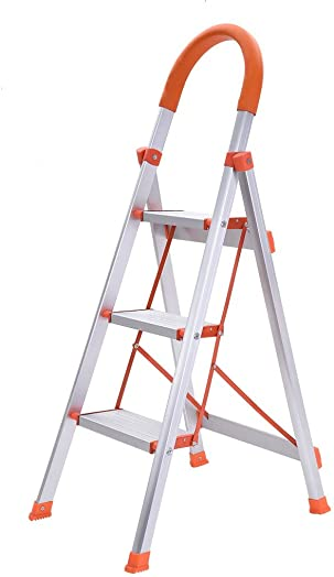 Auwish Folding 3 Step Stool – Lightweight Folding Step Stool Stepladders Wide Pedal Steel Ladder with Rubber Handgrip Anti-Slip Stepping Stools 330lbs Capacity Orange White