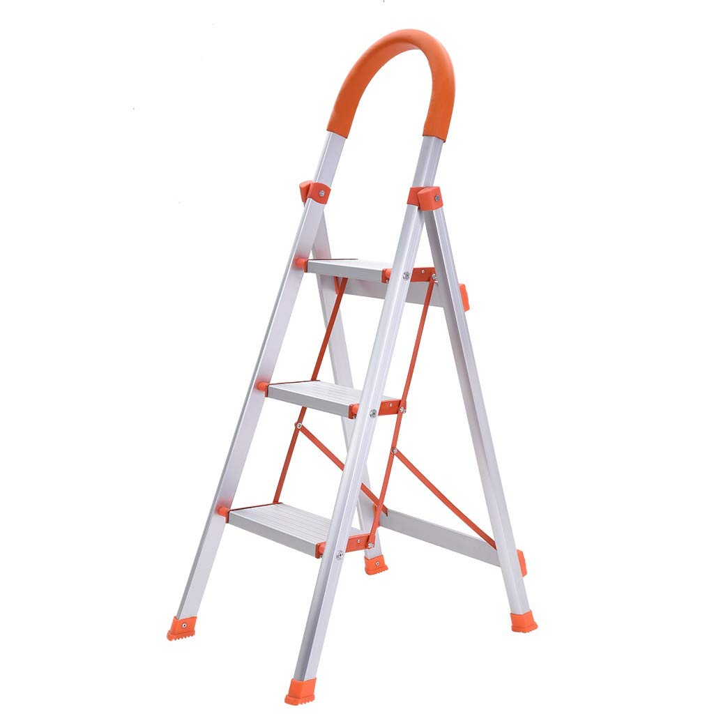 Folding Step Ladder with Handles, Mosunx 2 Step 300 lbs /3 Step 330 lbs Lightweight Portable Indoor/Outdoor Ladder with Wide Anti-Slip Pedal (White丨3 Step丨Aluminum Alloy) by Mosunx Housewares