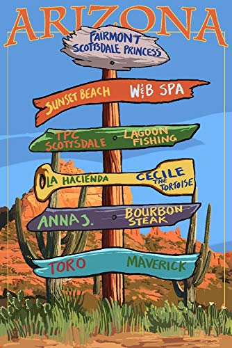 (Fairmont, Arizona - Destination Signpost (24x36 SIGNED Print Master Giclee Print w/Certificate of Authenticity - Wall Decor Travel Poster))