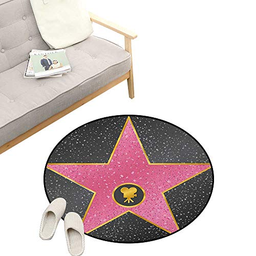 Popstar Party Modern Flannel Microfiber ,Hollywood Walk of Fame Symbol Celebrity Entertainment Culture, Round Rug Living Room Bedroom Decor 31
