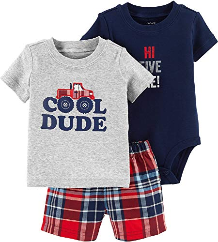 Carters Baby Boys 3-pc. Cool Dude Layette Set 3 Month Grey/Blue/red