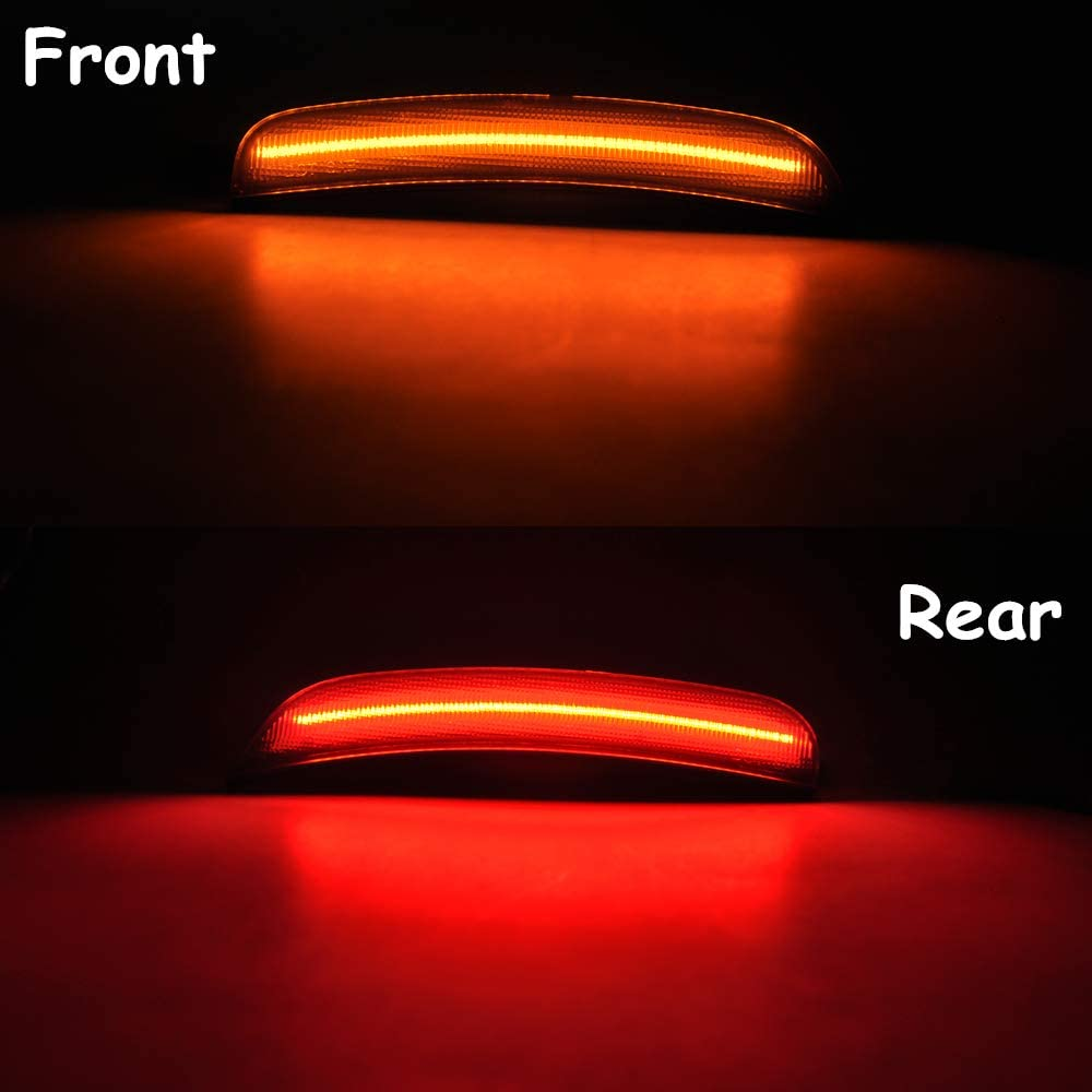 Amber Red LED Side Marker Light for Dodge Charger 2015 2016 2017 2018 2019 Smoke Lens Led Side Marker Lights Front /& Rear Sit Car Led Side Marker Lamp Kit