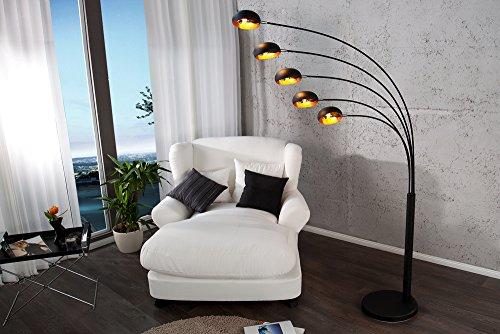 Bogenlampe FIVE LIGHTS 205cm schwarz und gold farben mit Metall ummanteltem Marmorfuß