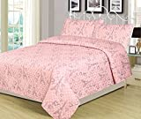 HowPlumb Full 3 Piece Paris Bed Set Bedding Quilt Bedspread, Girls Pink Polka Dot Hearts