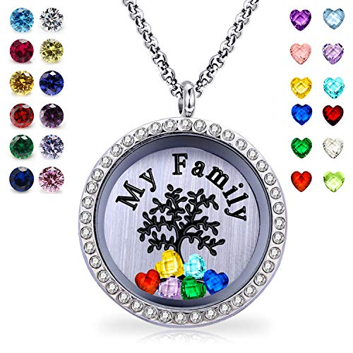 YOUFENG Floating Living Memory Locket Pendant Necklace Family Tree of Life Necklace All Birthstone Charms Include (My Family Tree CZ Locket)