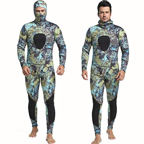 Nataly Osmann 3mm Camouflage Spearfishing Wetsuits 2-Pieces Hooded Scuba Diving Suit for Men (camo03, XL)