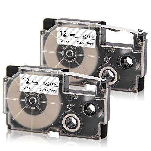 Cassette Label Maker - Absonic Tape Cassette Cartridges Compatible for CASIO XR-12X XR-12X2S Suit for KL100 KL120 KL750 KL780 KL7200 EZ-Label Printer (1/2