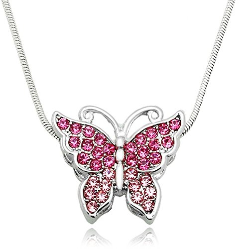 ystal Butterfly Pendant Necklace - Choose Pink, Purple, Teal, or Multicolor (Pink) (Small Flip Flop Pendant)