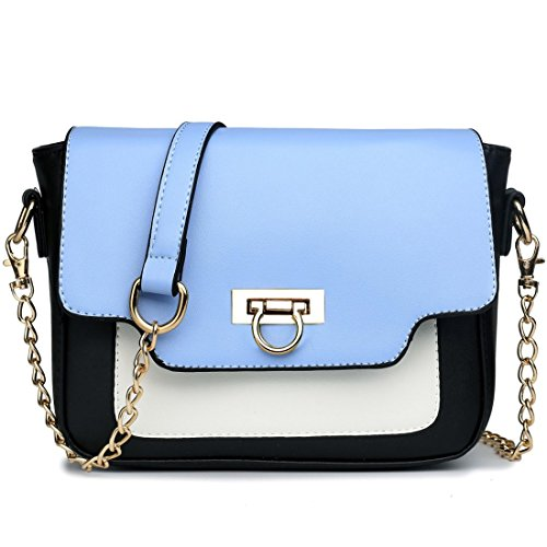 - Miss Lulu Women's Leather Style Horseshoe Clasp Cross Body Satchel Handbag Medium Blue