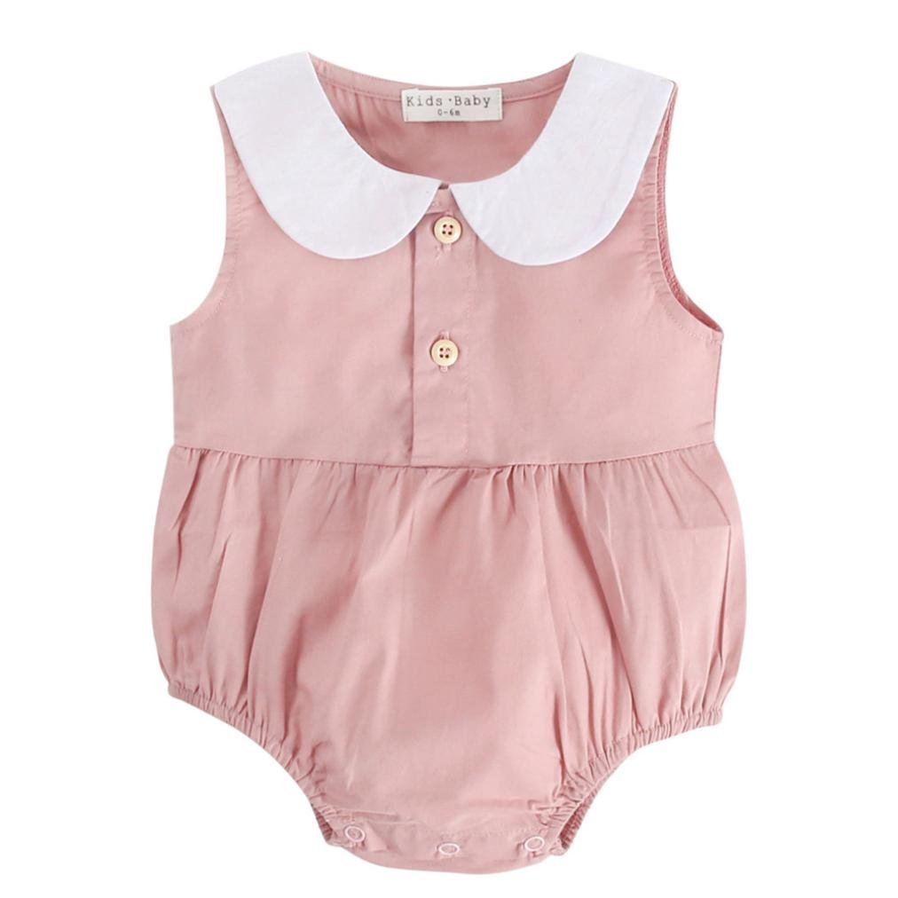 c2398e41e0f3 Amazon.com  Dinlong Infant Baby Boy Girls Summer Clothes Sleeveless Solid Striped  Romper Outfits  Clothing