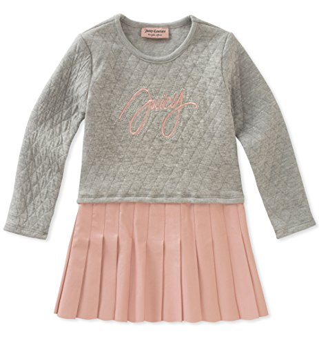 Juicy Couture Girls' Dress, Medium Grey Heather/Mink Pink, 12M ()