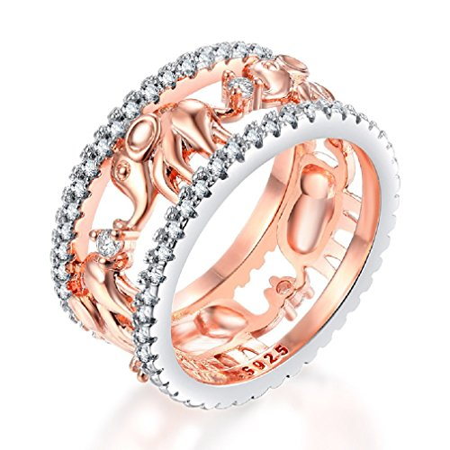 (Uloveido Good Luck Filigree Parading Elephants Ring Rose Gold Plated CZ Zircon Fahion Women's Ring Size 9 RA083)
