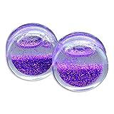 Purple Acrylic Glitter Snow Globe Ear Gauges Plugs Tunnels Saddle
