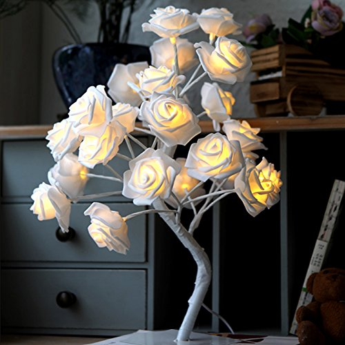 PinPle Tree Light Rose Flower Table Lamp Home Decoration Lights with 24 LEDs 15.4ft Rose Flower Tree Lights for Home/Christmas/Party/Wedding/Valentine's Day (White) (Table Lamp Flower)