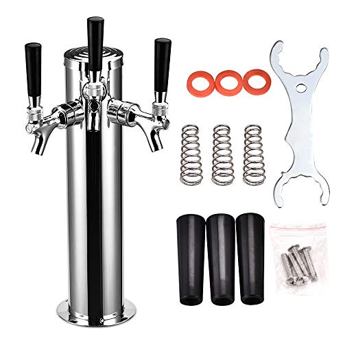 "Giraffe-X Stainless Steel Polished Faucet Draft Beer Tower, 3"" Column, Chrome-Plated Brass Faucets (Triple Faucet Type)"