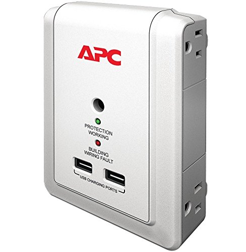 APC 4-Outlet Wall Surge Protector 1080 Joules with USB Charger Ports, SurgeArrest Essential (P4WUSB)