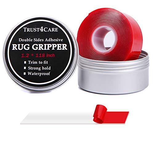 10 ft Double Sided Adhesive Carpet Tape to Keep The Area Rugs Pad in Place on Hardwood Floor for Non Slip or Curling ()