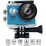 Action Camera W9 Wifi 12mp 170 Degree 1080p 2 inc LCD Digital 30M Waterproof WiFi Remote Control Car Bike Helmet Sports Action Camera Set (Blue)