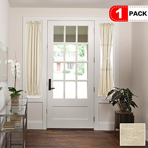 H.VERSAILTEX Functional Airy and Breathable French Door Curtain, Rich Linen Home Fashion Semi Sheer Curtains, Rod Pocket Door Panel, Set of 1, Multi Size, 25 x 72 - Inch - Beige
