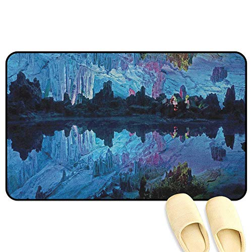 (homecoco Natural Cave Doormat Illuminated Reed Flute Cistern with Artifical Lights Crystal Palace Myst Cave Image Blue 3D Digital Printing Mat W24 x L35 INCH)