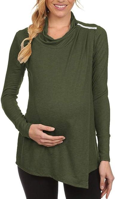 Tops de Lactancia para Mujeres Camisetas Embarazada de Manga Larga Lado Abierto Cuello Alto Blusas y Camisas Premamá Lactancia Ropa Maternidad: Amazon.es: Ropa y accesorios