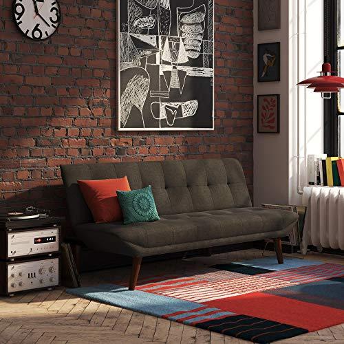 REALROOMS Adley Small Space Convertible Modern Futon Couch Lounger, Dark Grey Linen (Corner Futon)