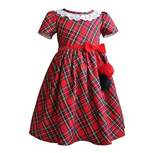 - Girls Plaid Dresses Red Checked Toddler Kids Outfits Pageant Party Birthday Christmas Ball Gown with Velvet Trim,Furry Balls