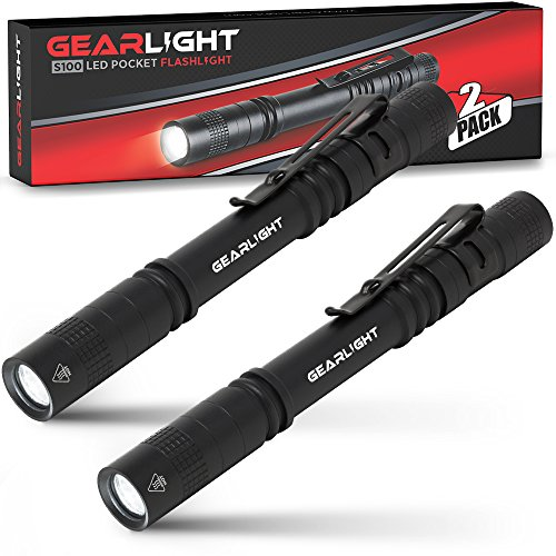 GearLight LED Pocket Pen Light Flashlight S100 [2 PACK] - Small, Mini, Stylus PenLight with Clip - Perfect Flashlights for Inspection, Work, Repair