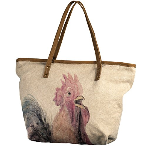 canvas tote bagcottncurls Women's Rooster Tote 19.3 X 18.17 Vintage (Tote Print Vintage)