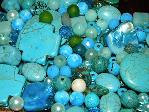 Variety of Mix Gemstones 100 Grams Semi-precious Turquoise & Crystals Size 4mm-25mm (Small to Xl) Focal Pieces, ()