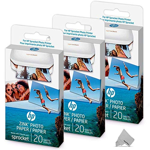 - 3 Pack of 20 HP Sprocket Photo Paper Sheets, Exclusively for HP Sprocket Portable Photo Printer, (2x3-inch), 60 Sticky-Backed Sheets