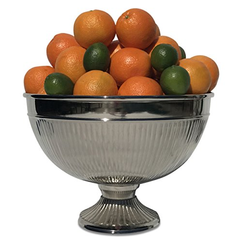 "The Crosby Street Chic Fluted Champagne Ice Bucket, Silver Aluminum Nickel, 15 ¼"" (39cm) Diameter, By Whole House Worlds"