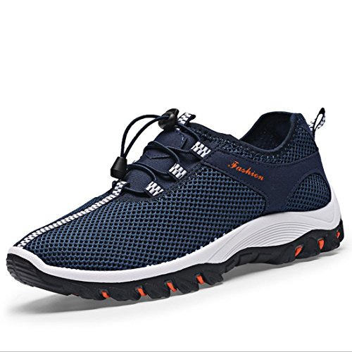 Elwow Men's Breathable Mesh Slip On Loafers Athletic Outdoor Sports Running Shoes, Hiking Shoes, Walk Track Exercise Field Sneakers Deep Blue