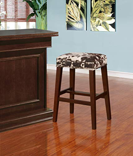 Linon Walt Brown Cow Print Bar Stool in Walnut (Bar Stools Cow)