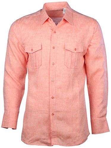 Mojito Collection (Mojito Collection Men's Linen 2-Pocket Long Sleeve Button Down Shirt-Orange-Large)