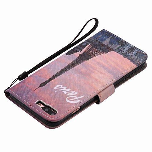 Custodia Apple iPhone 7 Plus Cover Case, Ougger Portafoglio PU Pelle Magnetico Stand Morbido Silicone Flip Bumper Protettivo Gomma Shell Borsa Custodie con Slot per Schede, Torre Eiffel