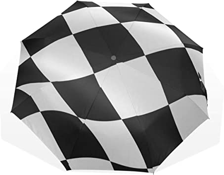 XiangHeFu - Paraguas con Bandera de Cuadros en Blanco y Negro ...