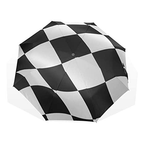 9140934a6 Amazon.com : XiangHeFu Umbrella Black White Checkered Flag Auto Open Close  3 Folds Lightweight Anti-UV : Sports & Outdoors