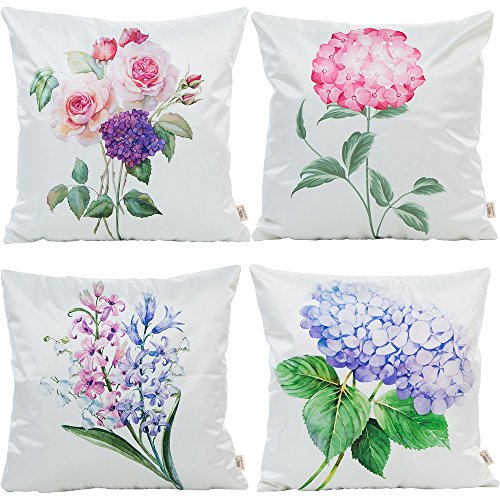 (HOSL S03 4 Pack Man-Made Silk Natural Touch Polyester Yarn Decorative Pillow Cover Case 18