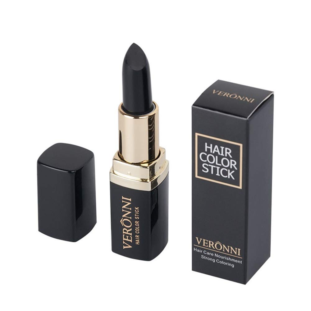 VERONNI Temporary Hair Color Touch-Up Stick Cover Your Gray Hair Color Dye Lipstick Pen for Unisex Hair Color,Root Touch Up Black 4.5g/0.158OZ (#01 Black)