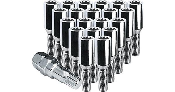 Thread Pitch 1.1 Thread Length 12X1.50 R.H 20 Lug Bolts /& 1 Key CECO Chrome Internal Gear Type Tuner Bolt Installation Kit