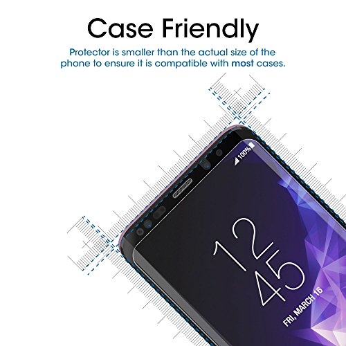 "Galaxy S9 Plus Screen Protector Glass, amFilm 3D Curved Dot Matrix Full Screen Samsung Galaxy S9 PLUS Tempered Glass Screen Protector (6.2"") 2018 with Easy Application Tray (NOT S9) (Case Friendly)"