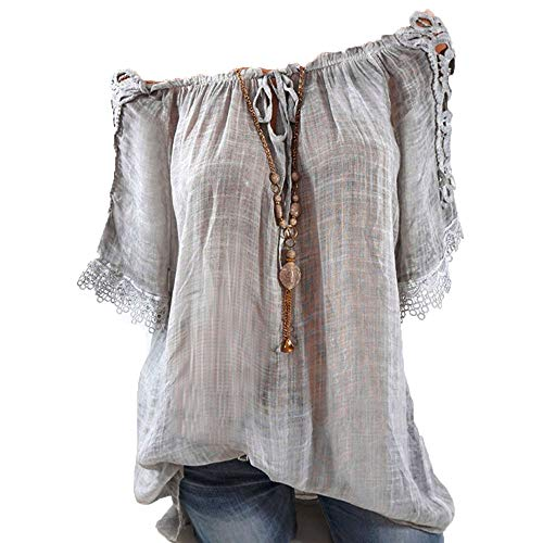 Short Sleeve Tee Blouse for Women,Yamally Womens Button-Down T Shirts V-Neck Floral Print Loose Casual Tops S-5XL Gray